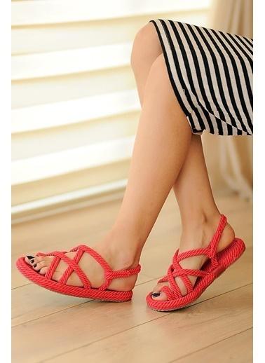 Pembe Potin A0202-20 Kadın Sandalet Kırmızı